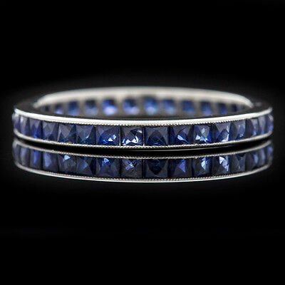 Art Deco 1.75 Royal Blue Sapphire French Cut Platinum Eternity Band Vintage Ring