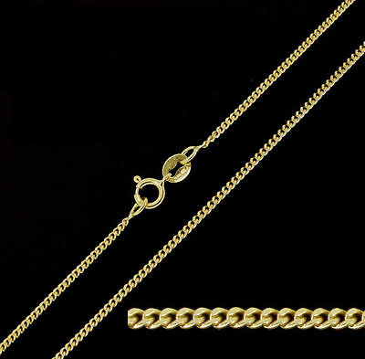 18ct Solid Yellow Gold Diamond Cut Curb Chain Necklace 18""