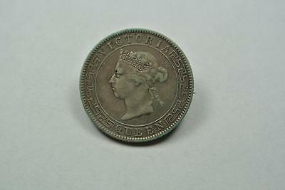 1893 VF Ceylon 50 Cent Silver Coin Made Into Jewelry, Pin - C3570