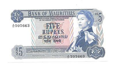 Unc. Bank Of Mauritius 5 Rupees, Crisp Mint, Cat. #30a - P321