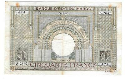 Scarce Bank Of Morocco 50 Francs, 28-10-47, Cat. #21, VF/XF - P329