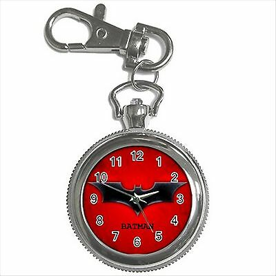 NEW* HOT BATMAN LOGO Silver Tone Key Chain Ring Watch Gift