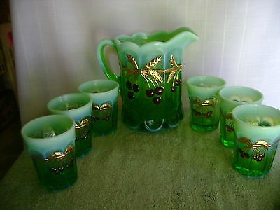 Art Glass Victorian Water Pitcher and 6 Tumblers Marked --M--