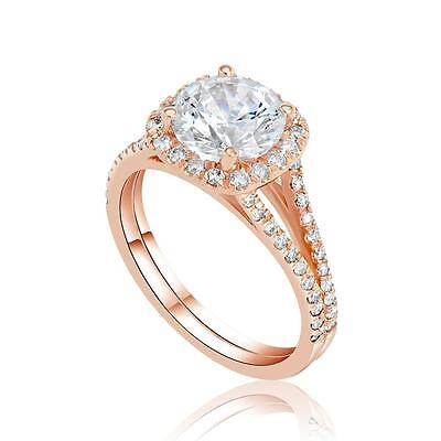 1.30 Ct D/VS1 Round Cut Real Diamond Engagement Ring 14K Rose Gold