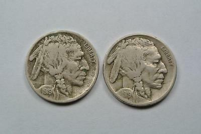 Fine 1919 & About VF 1919-S Buffalo, Indian Head Nickels - C3513