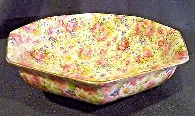 "ROYAL WINTON GRIMWADES CHINTZ  SUMMERTIME  7-7/8"" Hexagon Bowl Wright Tyndale"