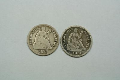 1871 & 1873 Seated Liberty 1/2 Half Dimes, Good Condition - C3673