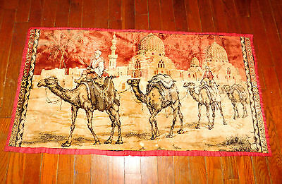 """Antique/Vintage 38"""" X 20"""" Middle East Tapestry Camels Mosque Egypt?"""