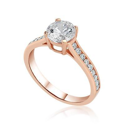 1.25 Ct D/VS1 Round Cut Diamond Solitaire Engagement Ring 14K Rose Gold