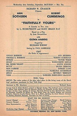 """Ann Sothern """"FAITHFULLY YOURS"""" Robert Cummings 1951 FLOP Tryout Broadside"""