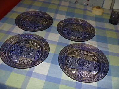 """Set of 4 Crystal D'ARQUES DURAND Purple/Amethyst 10"""" Glass DINNER PLATES"""