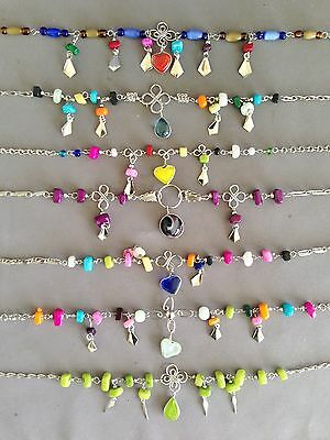5 colorful glass mixed cascajo anklets ankle bracelet handmade Peruvian lot