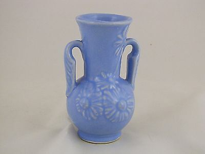 "Shawnee Pottery Vase w Embossed Flowers, Gloss Blue, 5 1/2"" tall"