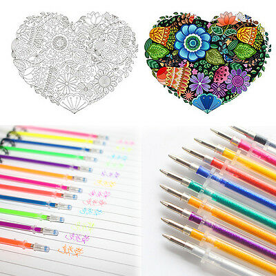 48Colors Colorful Gel Ink Pen Glitter Coloring Drawing Stationery Supplies