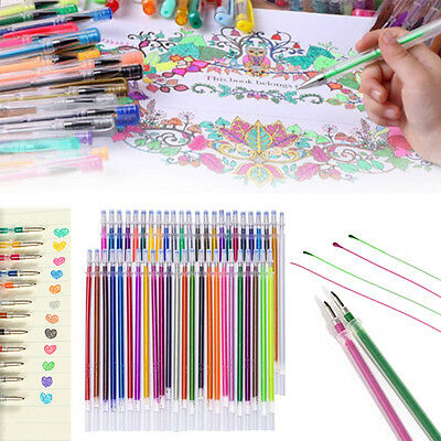 48Colors Gel Ink Pen Refills Glitter Coloring Drawing Stationery Office Supplies