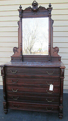 00001 Antique Marble Top French Victorian Dresser Chest with Mirror circa 1880