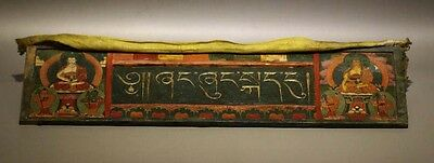 Rare 18th Old Antique Tibet Tibetan Buddhism Painted Thangka Wooden Sutra Cover