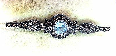 Gorgeous Vintage Solid Silver Blue Topaz Marcasite Bar Brooch