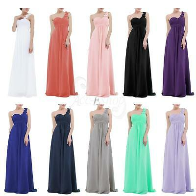 Elegant Women's Chiffon Bridesmaid One Shoulder Long Evening Party Formal Dress