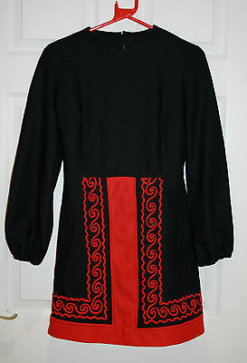 Vintage 1960's Handmade Red & Black A Line Dress Mod Size 10 / 12