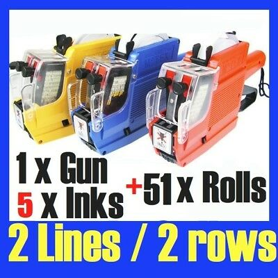 Price Pricing Gun Labeller 2 Lines 10 Digits + 51x Label Rolls & 2 Inks