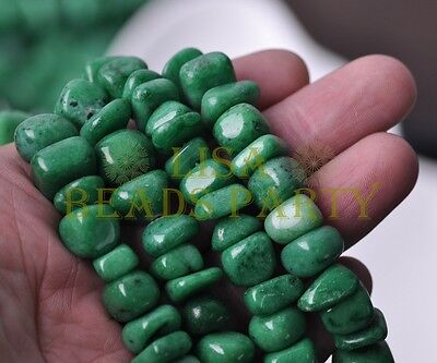 1Strand 35'' Green Natural Stone Gemstone Free Form Rocks 9~13mm Chips Beads