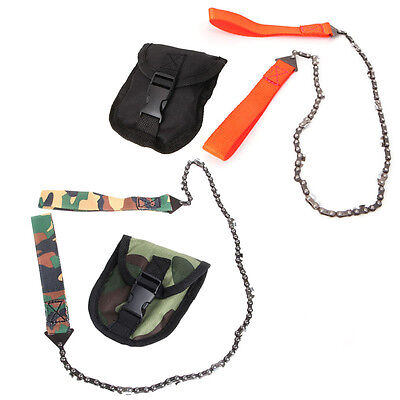 Portable Camping Hand Chainsaw Pocket Chain Saws Tool /w Pouch Outdoor Survival