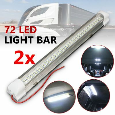 2pcs 12V 72 LED Interior Light Lamp Strip Bar Car Van Bus Caravan ON/OFF Switch