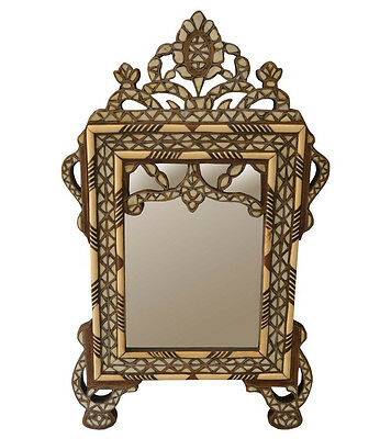 Vintage handcrafted Syrian Mother of Pearl Inlay Wood Wall Mirror Frame #HD03
