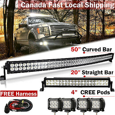"""50Inch LED Light Bar Combo + 20in +4"""" CREE PODS OFFROAD SUV 4WD ATV FORD JEEP 50"""