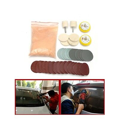 34XCar Glass Deep Scratch Remover Glass Polishing Kit-Cerium Oxide,Pad,Sandpaper