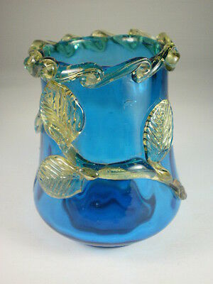 Vintage Applied Leaf Blue Glass Small Vase