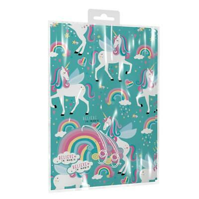 2 Sheets of Pink Unicorn Birthday Gift Wrap Wrapping Paper ,Card & 2 Gift Tags