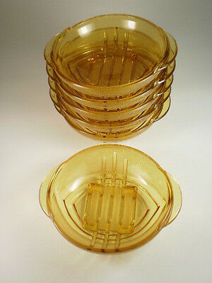 Amber Glass Small Bowls X 6