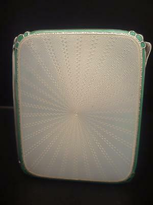 Solid Silver Green & Ivory Enamel Cigarette Case H/marked Birmingham Dated 1926