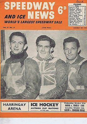 RONNIE MOORE / FREDDIE WILLIAMS / JACK YOUNG	Speedway News 	Oct	27	1954