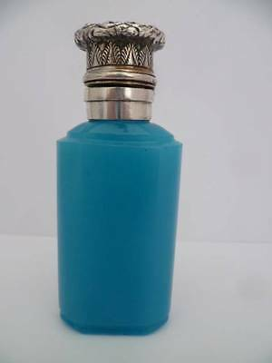 SAMPSON MORDAN SOLID SILVER BLUE OPALINE PERFUME/SCENT BOTTLE Circa1888