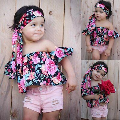 3PCS Toddler Kids Baby Girls Clothes Floral T-shirt Tops+Jeans Pants Outfits Set