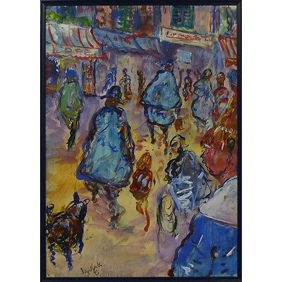 Large Abstract Impressionist Street Scene Oil On Paper, Framed & Signed 'waters'