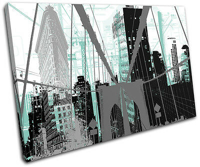 New York City Abstract Modern Urban SINGLE CANVAS WALL ART Picture Print