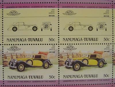 1938 ALVIS SPEED Model 25 Car 50-Stamp Sheet / Auto 100 Leaders of the World