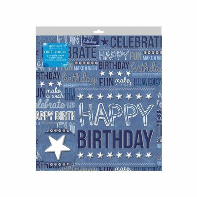 2 Sheets of Denim Blue Birthday Gift Wrap Wrapping Paper ,Card & 2 Gift Tags