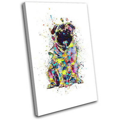 Pug Dog Colourful Abstract Animals SINGLE CANVAS WALL ART Picture Print