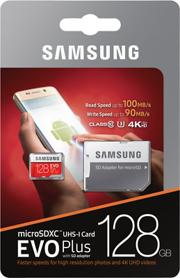Samsung EVO Plus 128GB Micro-SDXC Card mit 100MB/s +SD-Adapter UHS-I U3,Mod.2017