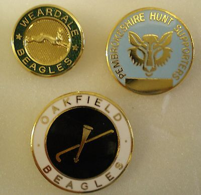 FOXHOUND HUNTING 3 x Pin Badges WEARDALE BEAGLES, PEMBROKESHIRE HUNT, OAKFIELD