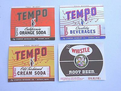 4 Full Quart Tempo Soda Labels, Stempien Beverage Co. Detroit Michigan