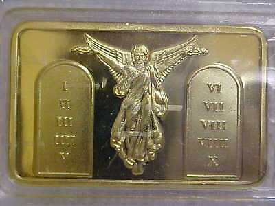Very Stunning & Beautiful  Jesus & Angels 1 Troy oz Gold Layered Bar With Case