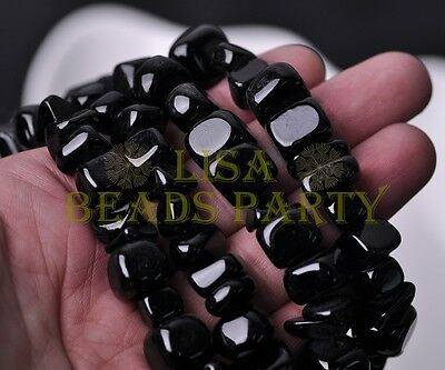 1 Strand 35'' Black Natural Stone Gemstone Free Form Rocks 9~13mm Chips Beads