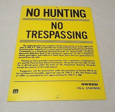 Vintage Metal No Hunting No Trespassing Sign Pennsylvania Game Commission NOS