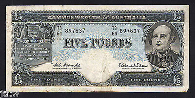 Australia R-50. (1960) 5 Pounds . Coombs/Wilson -  Reserve Bank.. VF